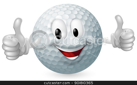 Golf Ball Mascot stock vector clipart, Illustration of a cute happy golf ball mascot man smiling and giving a thumbs up by Christos Georghiou