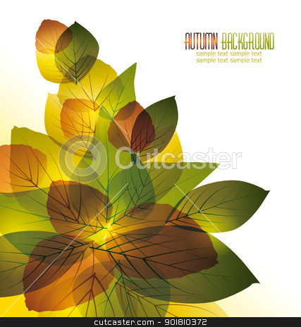 leaves stock vector clipart, vector background with colorful autumn leaves by Miroslava Hlavacova