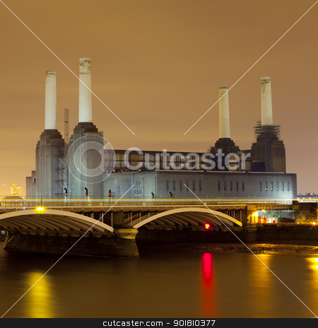 Battersea Power Station at Night stock photo, A shot of Battersea Power Station at night. by Chris Dorney