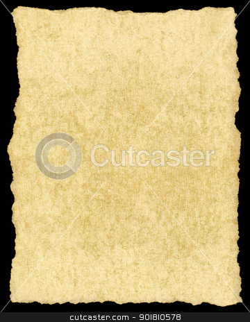 Old vintage yellowing torn paper isolated on black. stock photo, Old vintage yellowing torn paper isolated on black. by Stephen Rees