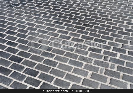 Black modern cobblestone blocks road surface close up. stock photo, Black modern cobblestone blocks road surface close up. by Stephen Rees