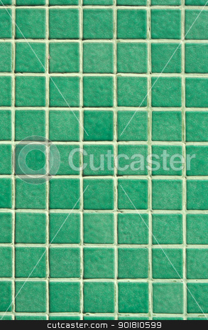 Small green tiles close up. stock photo, Small green tiles close up. by Stephen Rees