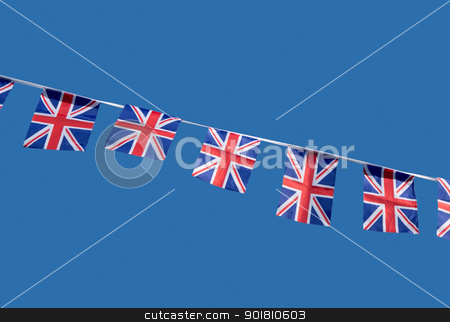 Small British Union Jack celebration flags. stock photo, Small British Union Jack celebration flags. by Stephen Rees