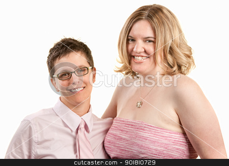 Two Friendly Women stock photo, Two friendly young women isolated over white by Scott Griessel