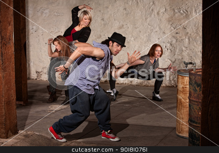 Handsome Dancer With Crew stock photo, Young Arab hip hop dancer posing with crew by Scott Griessel