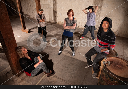 Crew of Hip Hop Dancers Waiting stock photo, Mixed group of cool hip hop dancers by Scott Griessel