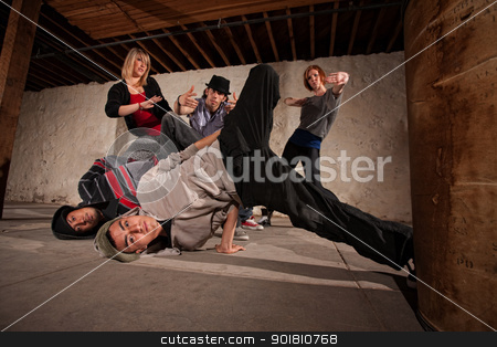 Headspin Landing stock photo, Two break dancers landing from a headspin by Scott Griessel
