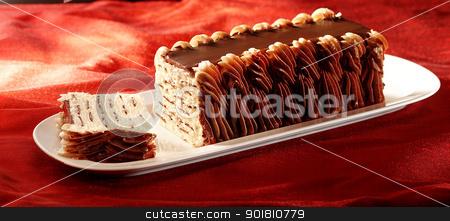 Vanilla ice cream with chocolate stock photo, ice cream pie on plate with chocolate topping     by Han van Vonno