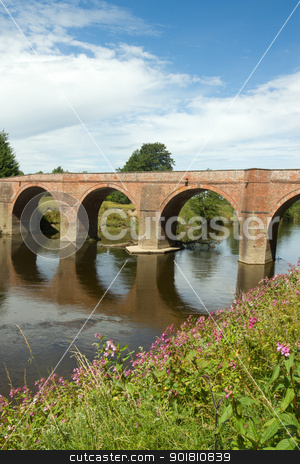 The Bredwardine Bridge over river Wye in Herefordshire, England. stock photo, The Bredwardine Bridge over river Wye in Herefordshire, England. by Stephen Rees