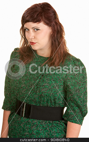 Beautiful Woman stock photo, Suspicious young Caucasian girl in green dress by Scott Griessel