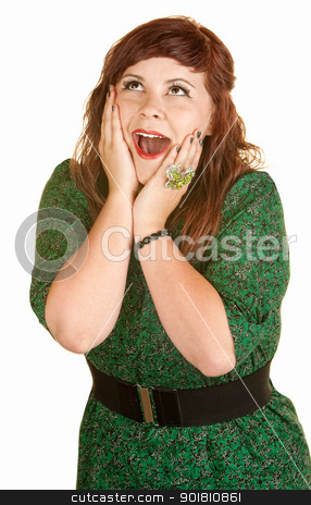 Beautiful Woman With Hands on Face stock photo, Infatuated female in green dress with hands on cheeks by Scott Griessel