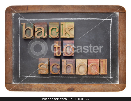 back to school concept stock photo, back to school concept - text in vintage letterpress wood type on a slate blackboard by Marek Uliasz