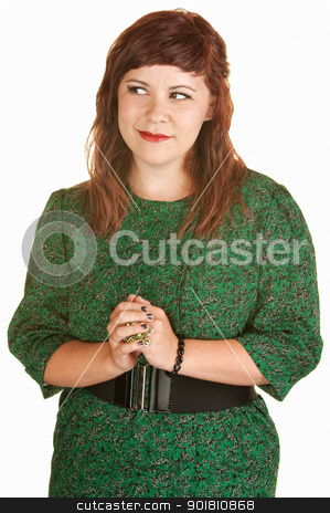 Innocent Young Lady stock photo, Confident white female in green dress with hands together by Scott Griessel