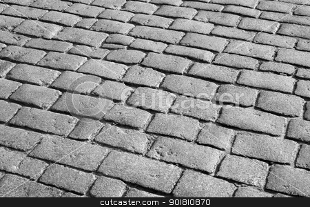 Old English cobblestone road close up. stock photo, Old English cobblestone road close up. by Stephen Rees