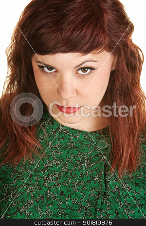 Beautiful Woman stock photo, Close up of gorgeous young woman in green dress by Scott Griessel