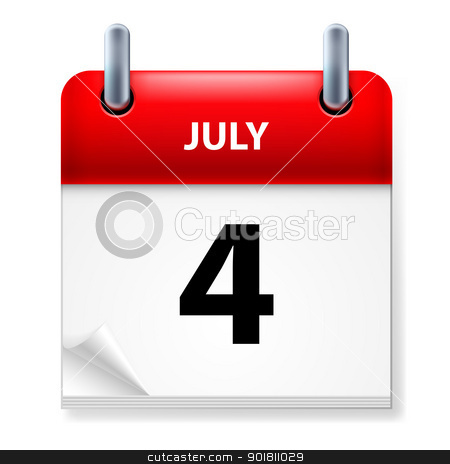 Calendar stock photo, Fourth July in Calendar icon on white background by dvarg
