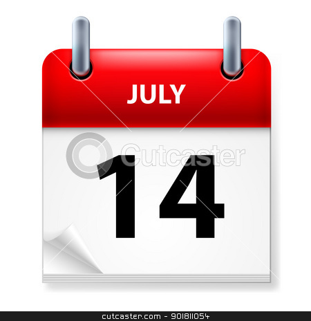 Calendar stock photo, Fourteenth July in Calendar icon on white background by dvarg