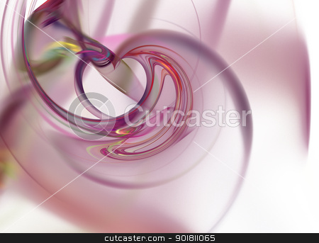 Fractal stock photo, Abstract fractal on white background with vibrant colors. by Henrik Lehnerer