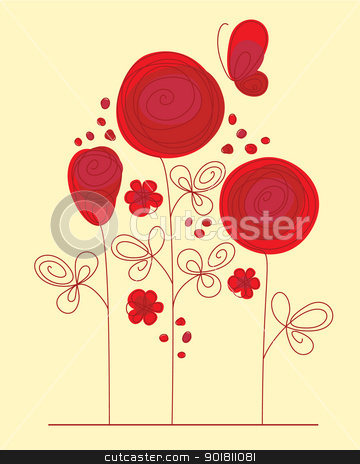Decorative background with abstract roses stock vector clipart, Decorative background with abstract hand drawn flowers and butterfly by Allaya