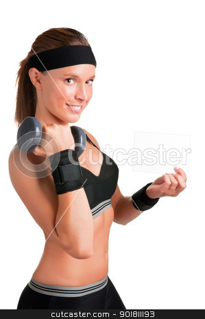 Working Out and Promoting stock photo, Woman working out with dumbbells at a gym and showing a blank card by ruigsantos
