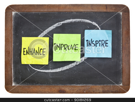 enhance, improve, inspire on blackboard stock photo, enhance, improve, inspire - motivation and inspiration concept - colorful sticky notes on a slate blackboard by Marek Uliasz