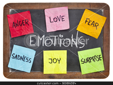 love, fear, joy, anger, surprise and sadness  stock photo, six basic emotions - love, fear, joy, anger, surprise and sadness - sticky notes on a vintage slate blackboard by Marek Uliasz