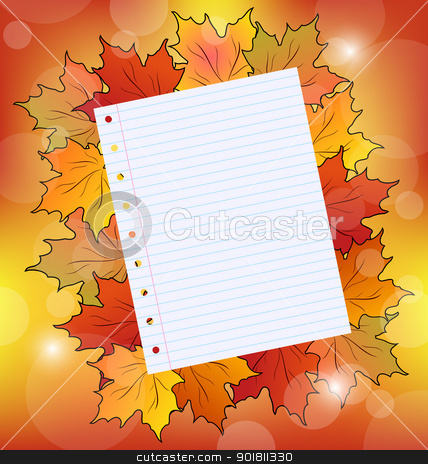 Colorful autumn maple leaves with note paper stock vector clipart, Illustration colorful autumn maple leaves with note paper - vector by -=Mad Dog=-