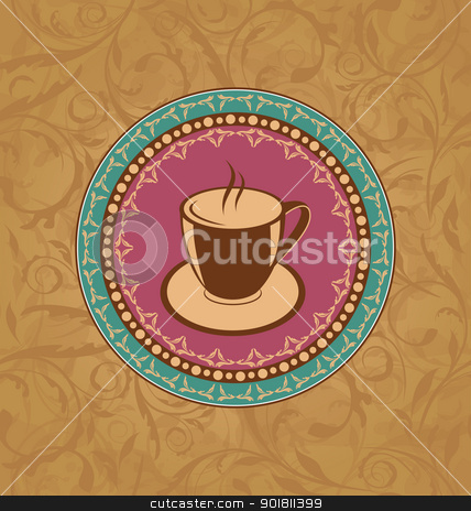 Cute ornate vintage with coffee cup stock vector clipart, Illustration cute ornate vintage with coffee cup - vector by -=Mad Dog=-