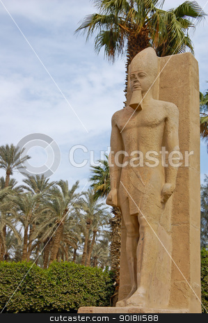 Standing Ramses II statue stock photo, Standing statue of Ramses II in open air museum of Memphis, Egyp by boonsom