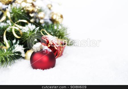 Christmas composition stock photo, Christmas composition with christmas ball by klenova