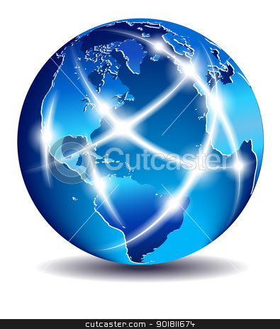 Communication World, Global Commerce - North South America and E stock vector clipart, The map was traced manually using the pen tool for maximum detail. The base map is from NASA. All elements are on individual layers in the vector file for easy use. by Fenton