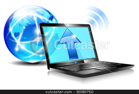 Upload to the internet cloud Icon - Laptop global World stock vector clipart, Upload from a laptop computer to the internet cloud computing by Fenton