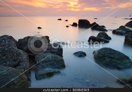 Landscape of sea stock photo, Landscape of sea with wave and rock in sunset. by jakgree