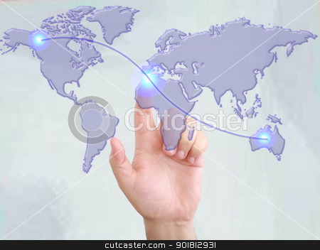 Hands with world mail delivery on world map background  stock photo, Hands with world mail delivery on world map background  by dacasdo