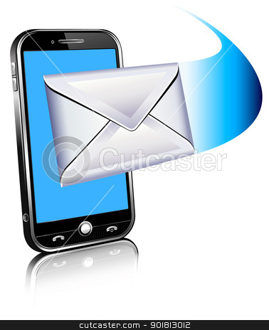 Send and receive email by phone stock vector clipart, communication letter email by phone by Fenton