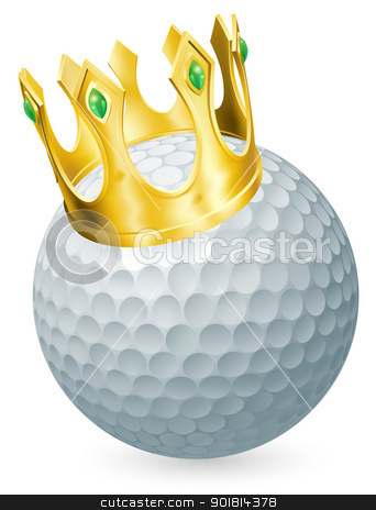 King of golf stock vector clipart, King of golf concept, a golf ball wearing a gold crown by Christos Georghiou
