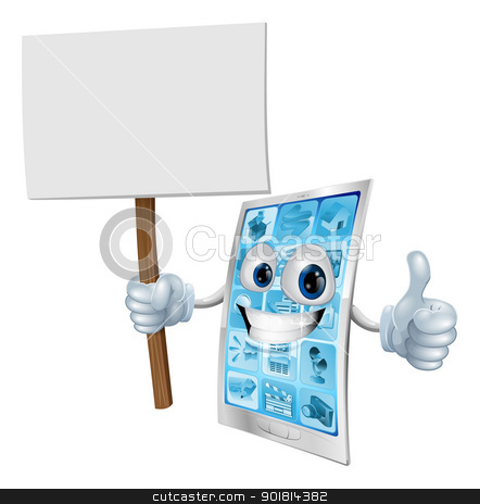 Mobile phone mascot holding sign stock vector clipart, Mobile phone mascot character holding a sign post illustration  by Christos Georghiou