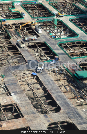 Construction site from top view stock photo, Construction site from top view by jakgree