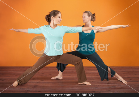 Yoga Practice stock photo, Two Caucasian women practicing yoga stretch their legs by Scott Griessel