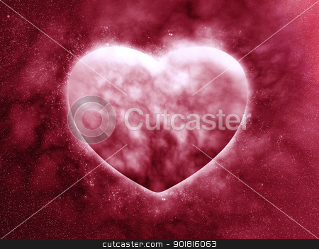 Planet of the heart in beautiful space stock photo, Concept planet of the heart by jakgree