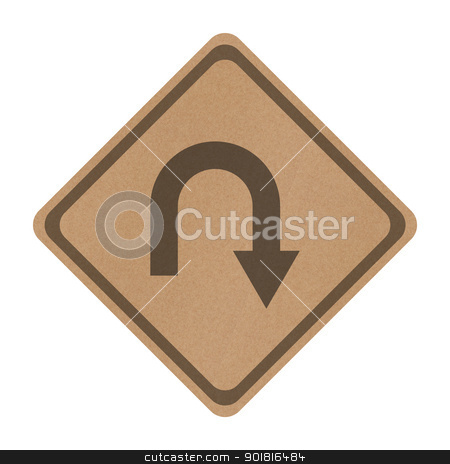 Recycle paper Turn back road sign isolated on white stock photo, Recycle paper Turn back road sign isolated on white by jakgree