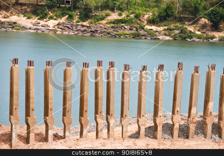 Foundation pile at riverside stock photo, Foundation pile at riverside by jukree