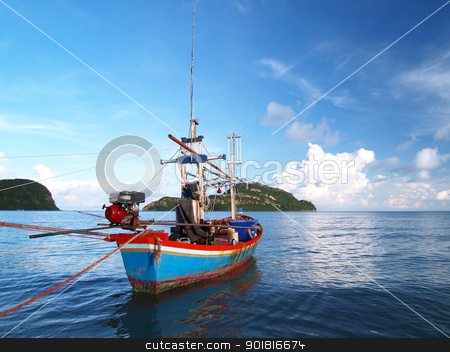 Fishing boat at sea and Island in Thailand stock photo, Fishing boat at sea and Island in Thailand by jakgree