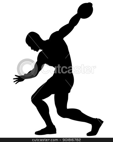 Discus thrower stock vector clipart, Editable vector silhouette of a man about to throw a discus by Robert Adrian Hillman