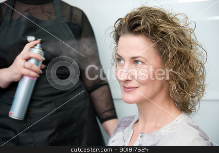 Hairdresser fixing woman hair with hairspray stock photo, Hairdresser fixing woman hair with hairspray  in hairdresser salon by Vadim