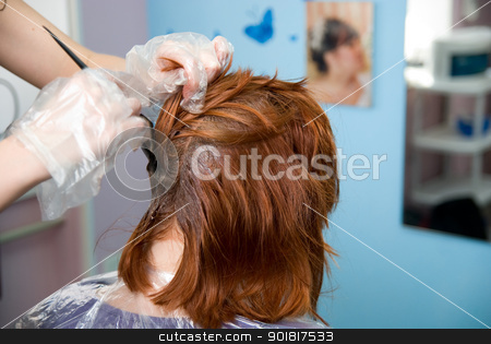 Painting of hair stock photo, Painting of hair in a beauty salon by Vadim