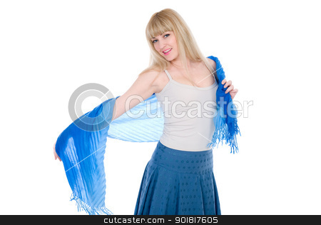 Charming blonde with an open blue scarf stock photo, Charming blonde with an open blue scarf isolated on white background by Vadim