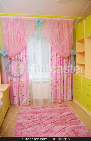 Pink curtains in a nursery stock photo, Pink curtains in a nursery. by Vadim