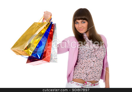 beautiful girl lifts packages with purchases stock photo, Shopping. Beautiful girl lifts packages with purchases by Vadim