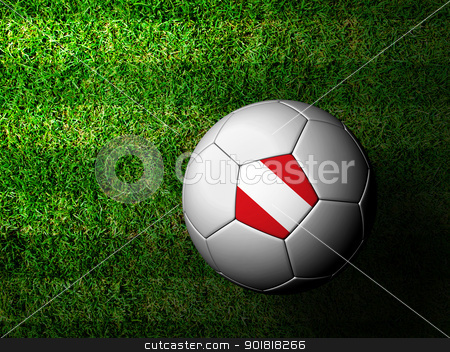 Peru Flag Pattern 3d rendering of a soccer ball in green grass stock photo, Peru Flag Pattern 3d rendering of a soccer ball in green grass by jakgree
